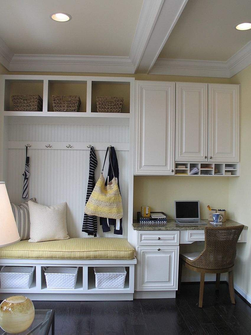 Tiny mudroom with smart seating and home workspace next to it