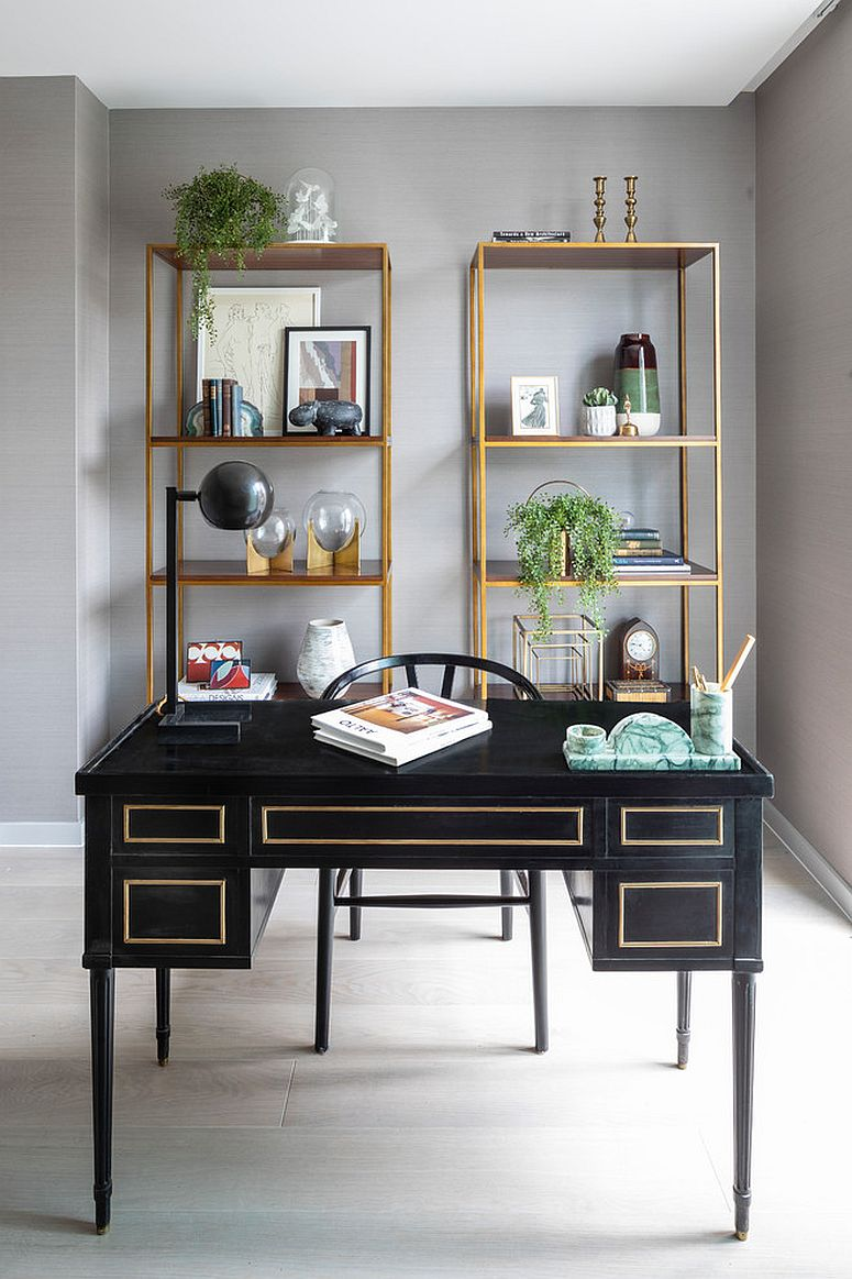 Touch of metallic charm for the gorgeous gray home office