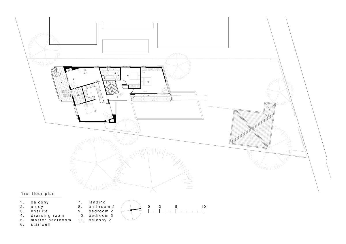 Upper level floor plan of the Bridge Building