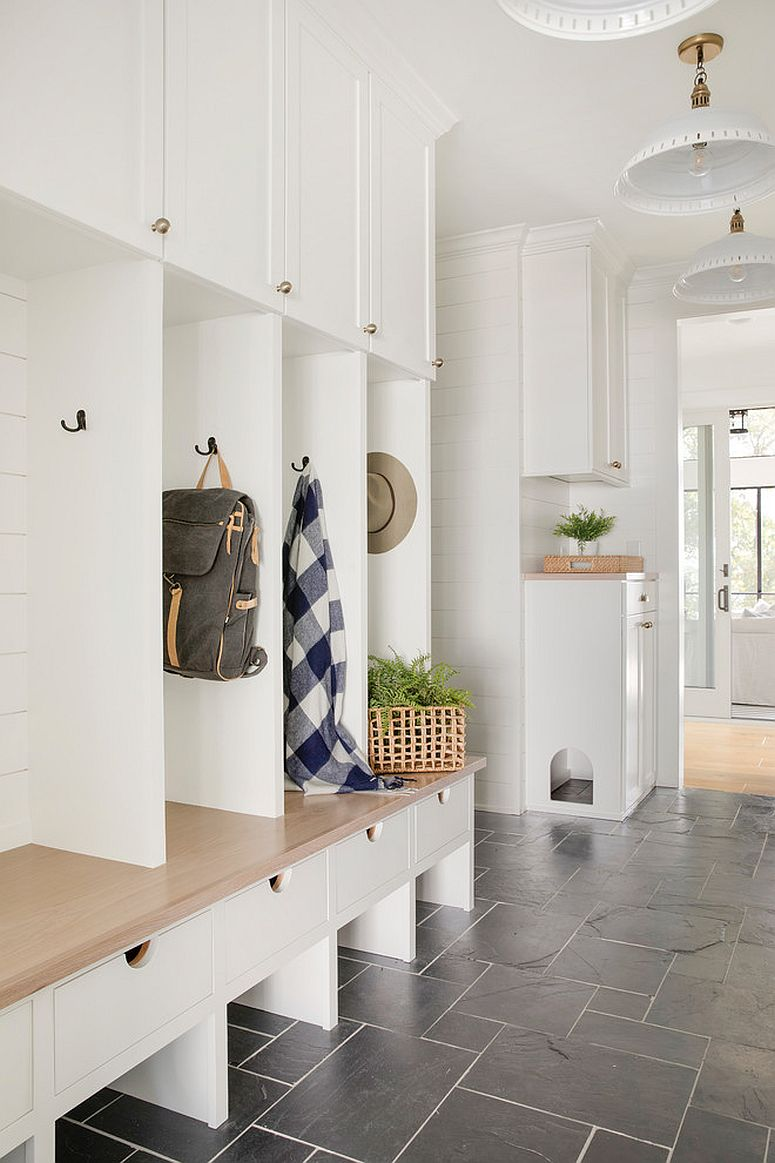Utlizing vertical space to the hilt in the modest mudroom