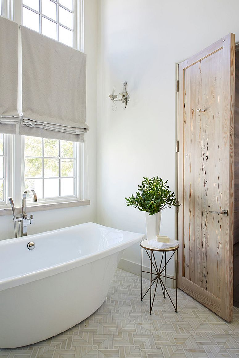 25 Wood and White Bathrooms for a Trendy, Relaxing Shower White Wooden Bathroom Door on
