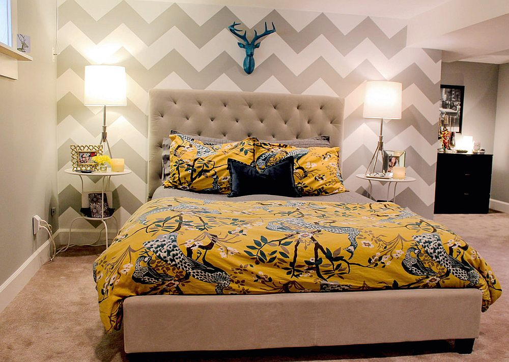 Yellow bedding for the neutral bedroom in white and gray