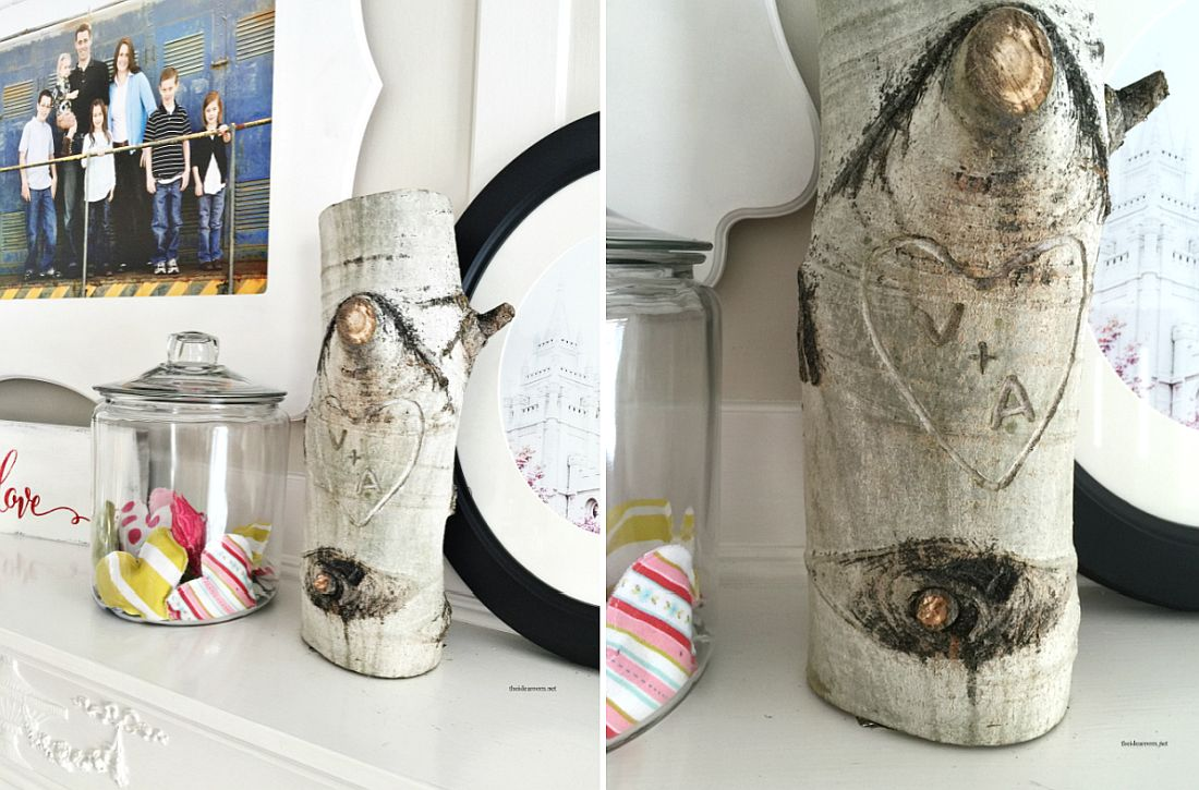 Add tree stump with initials to the bedside table for a cool new bedroom look