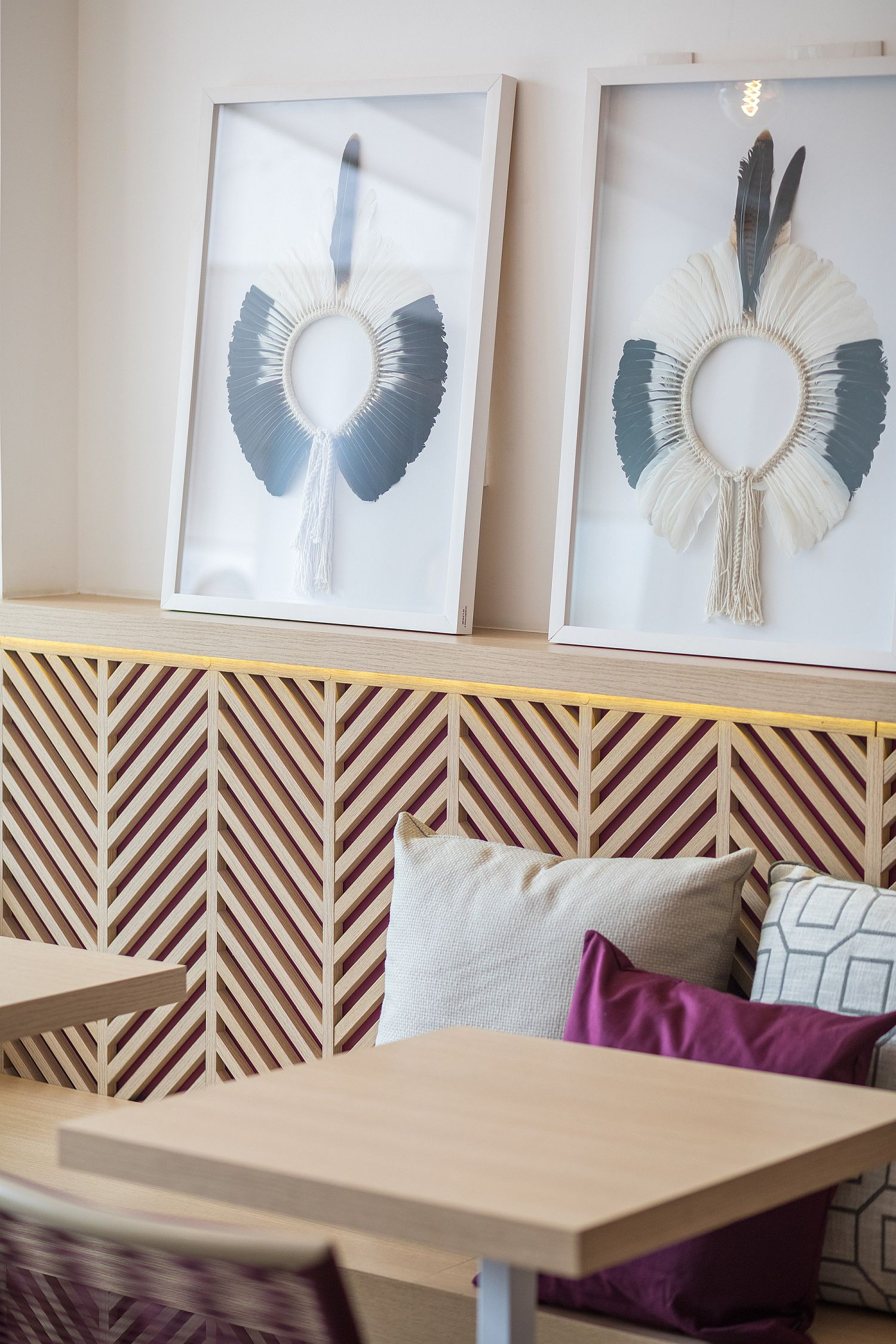 Art work adds fun pattern to the diner without altering the color scheme