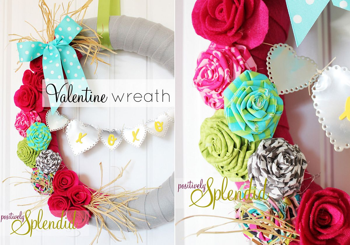 Beautiful homemade Valentine's Day wreath can add charm to the bedroom wall as well