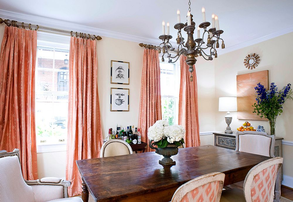 Bring home Pantone's Color of the Year Living Coral with drapes and decor