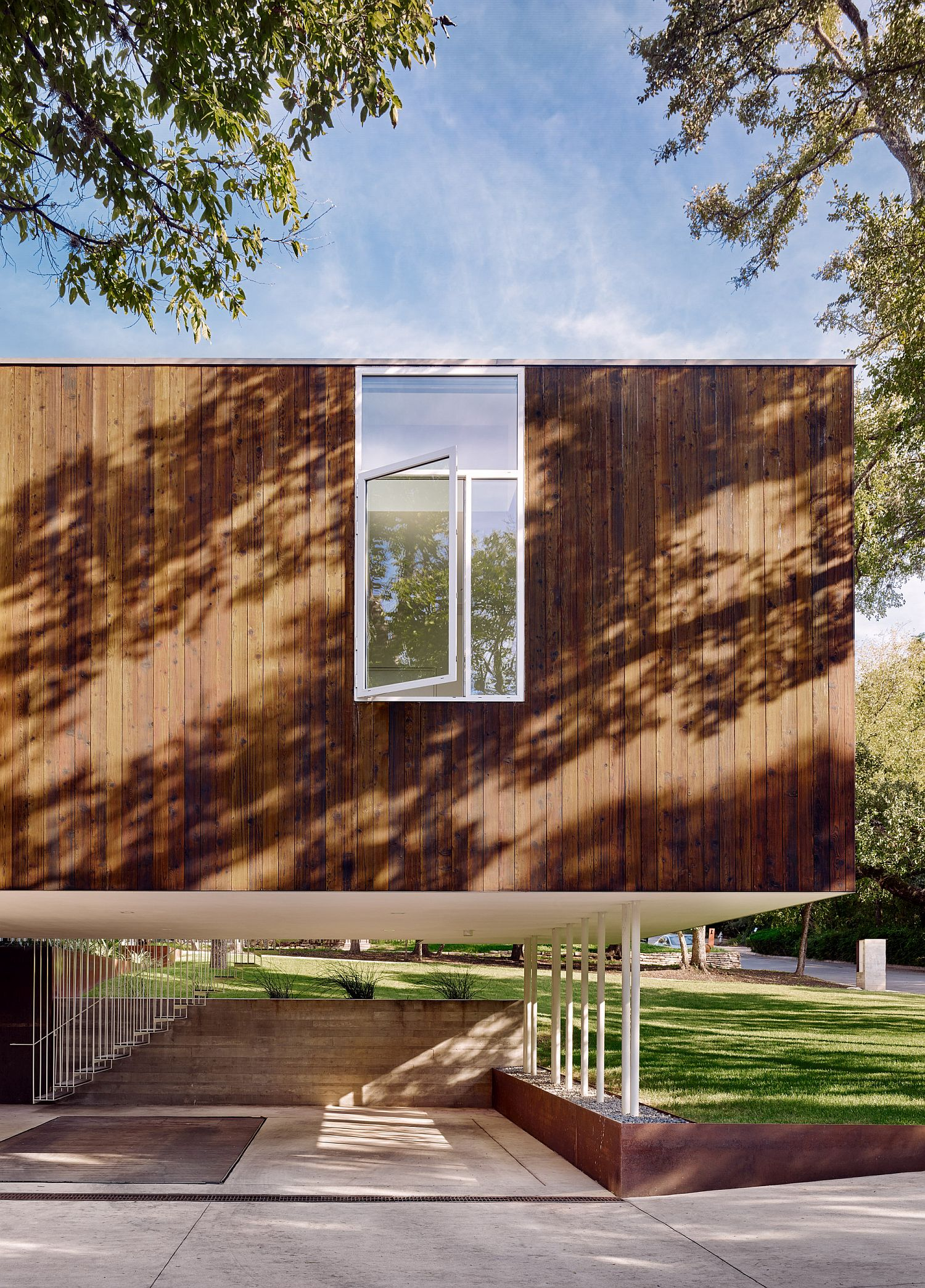 Cantilevered entry to the Sugar Shack Residence