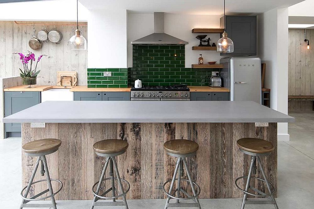 Casual industrial style kitchen with subway tiled backsplash in green