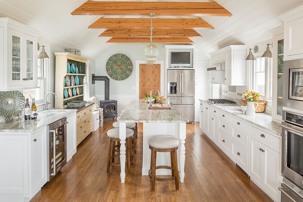 Ceiling and floor bring woodsy element into this kitchen