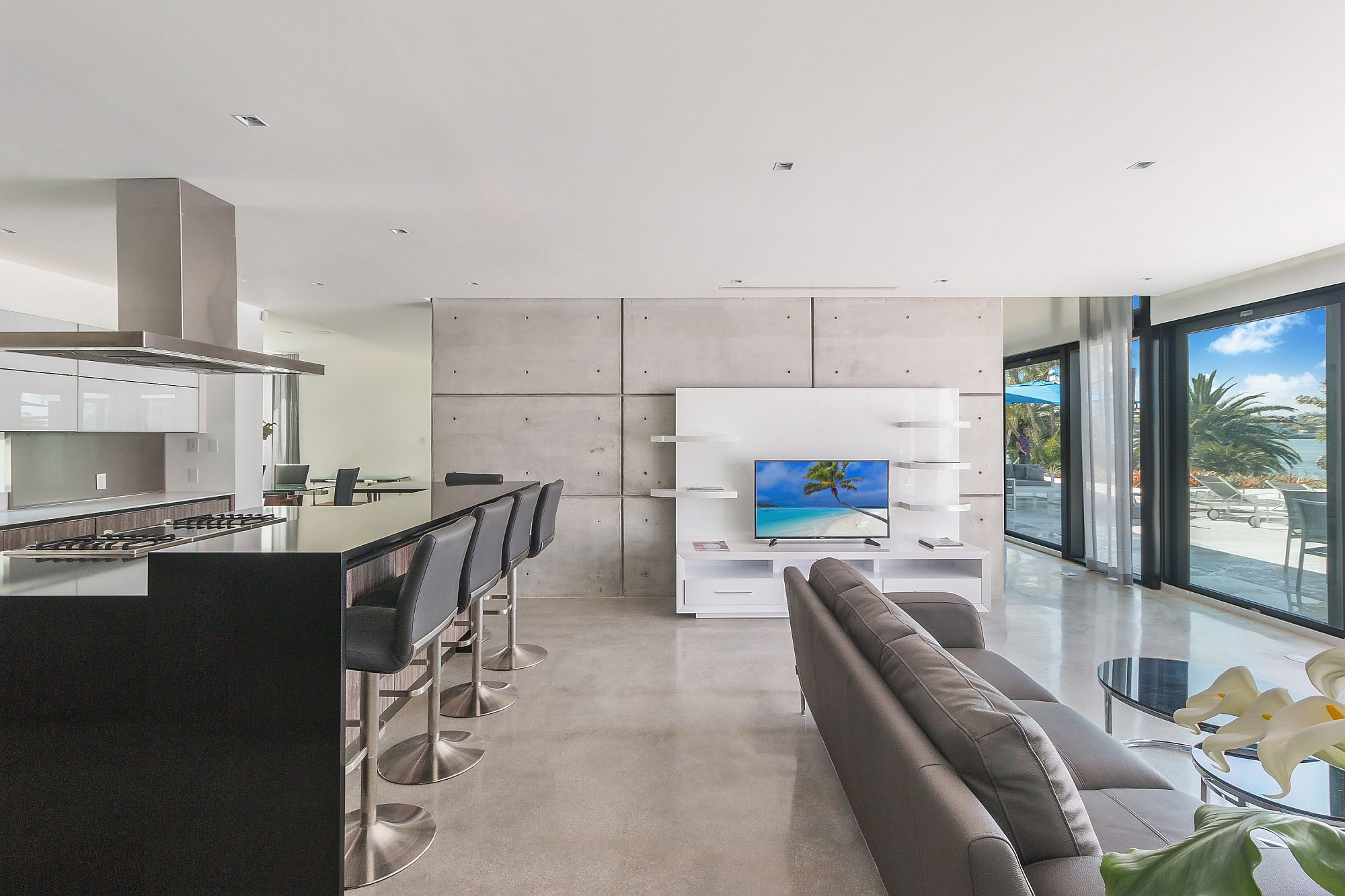 Concrete and white give the interior a fresh, modern look