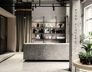 Five Flowers: Gray and Minimal Industrial Store Showcases Delicate Flora