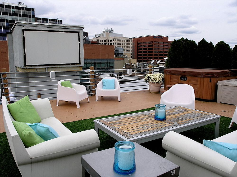 Custom home theater on the terrace deck with ample sitting space for everyone