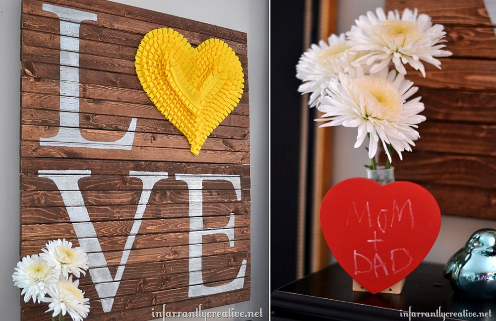 DIY pallet wall art addition is perfect for this Valentine's Day