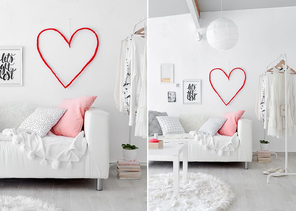 Dashing red heart on the bedroom wall makes a big impact