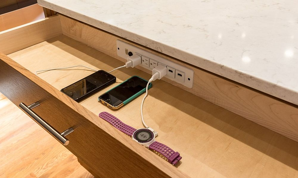 Dedicated cabinet for charging your gadgets in the kitchen makes your life a whole lot easier
