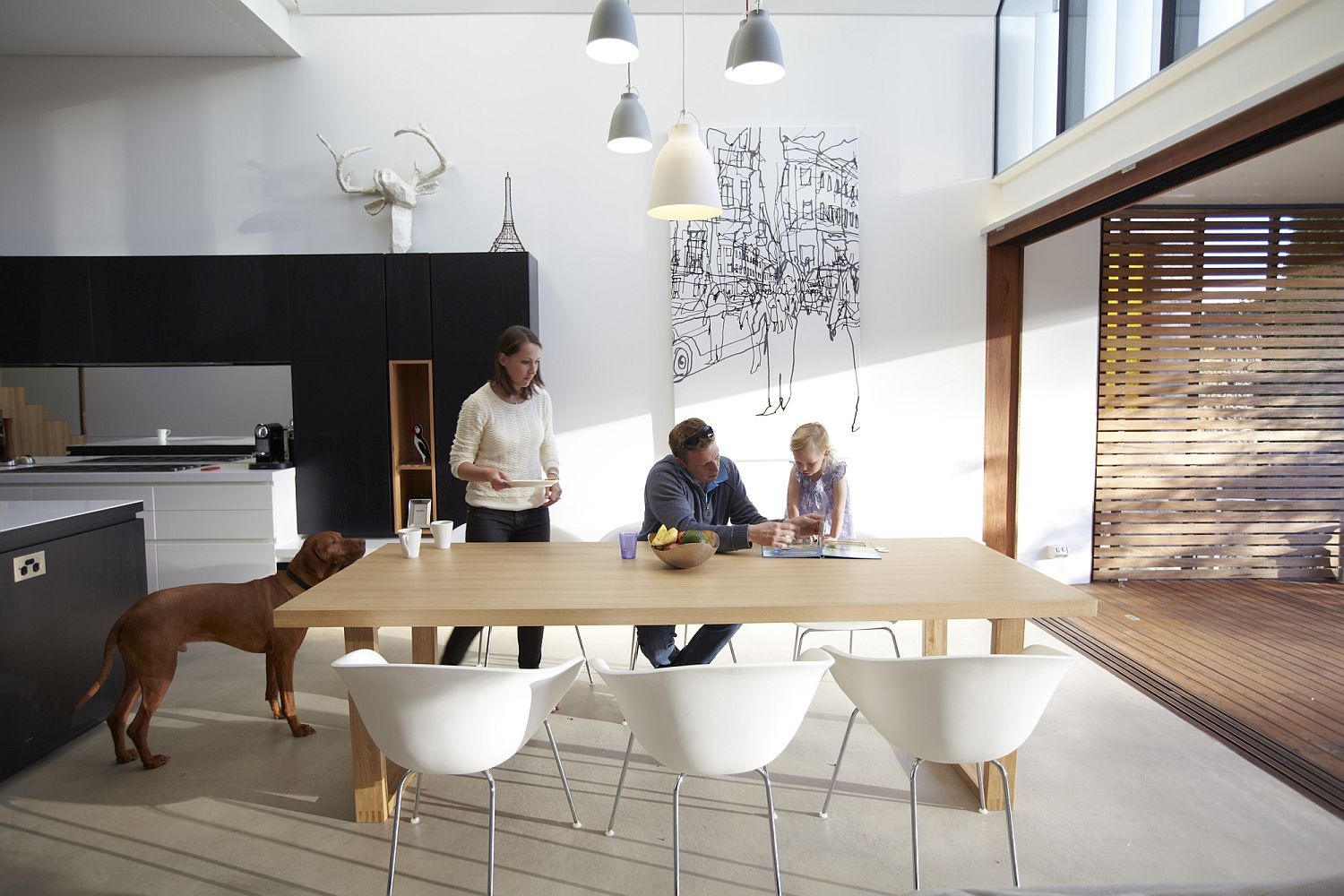 Dining area becomes the heart of the new house