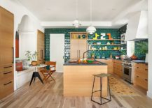 Eclectic-kitchen-in-white-wood-and-green-217x155