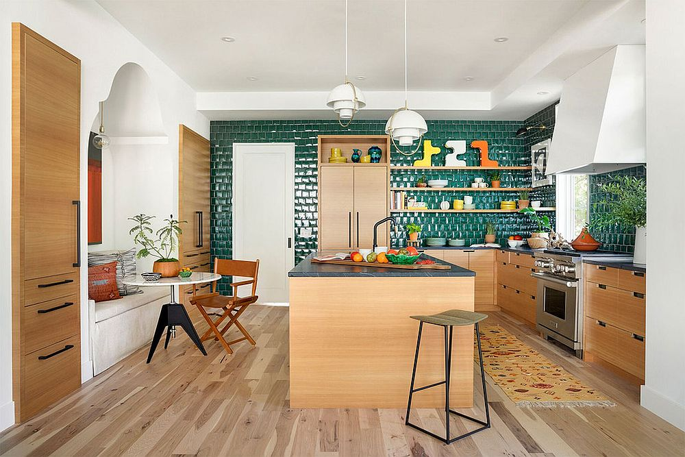 Eclectic kitchen in white, wood and green