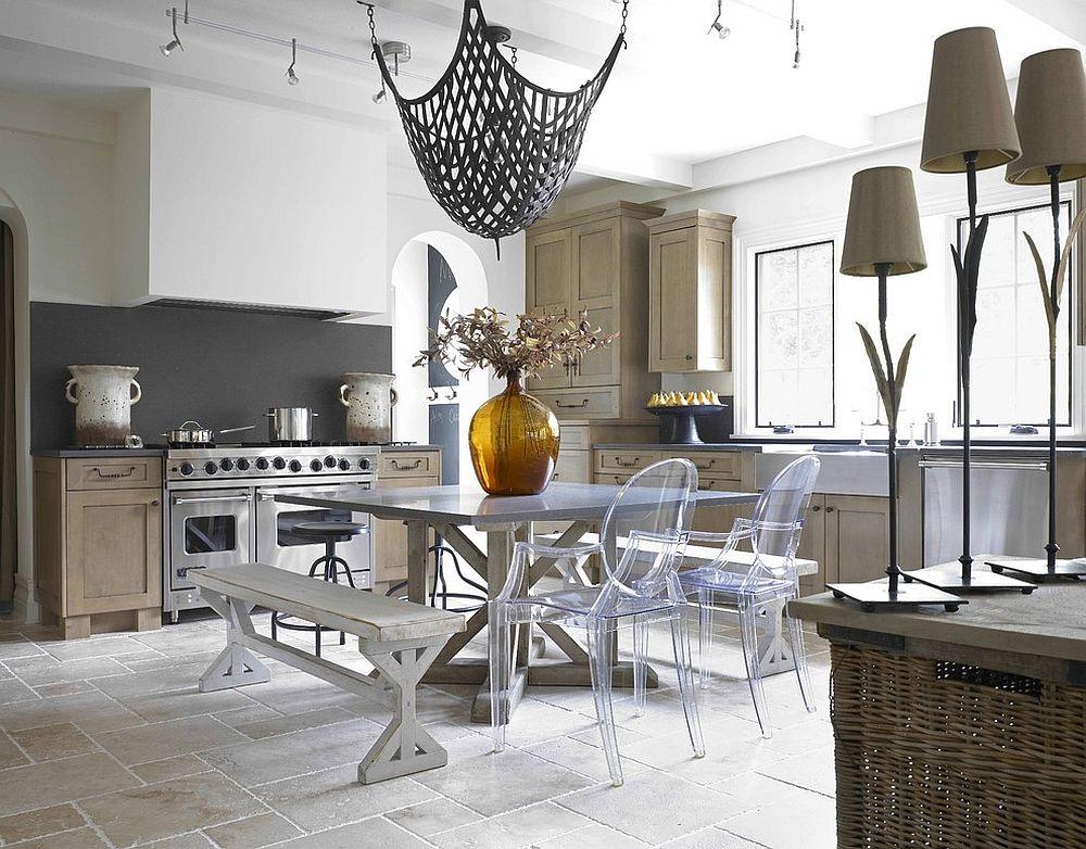 Eclectic kitchen with dark gray backsplash
