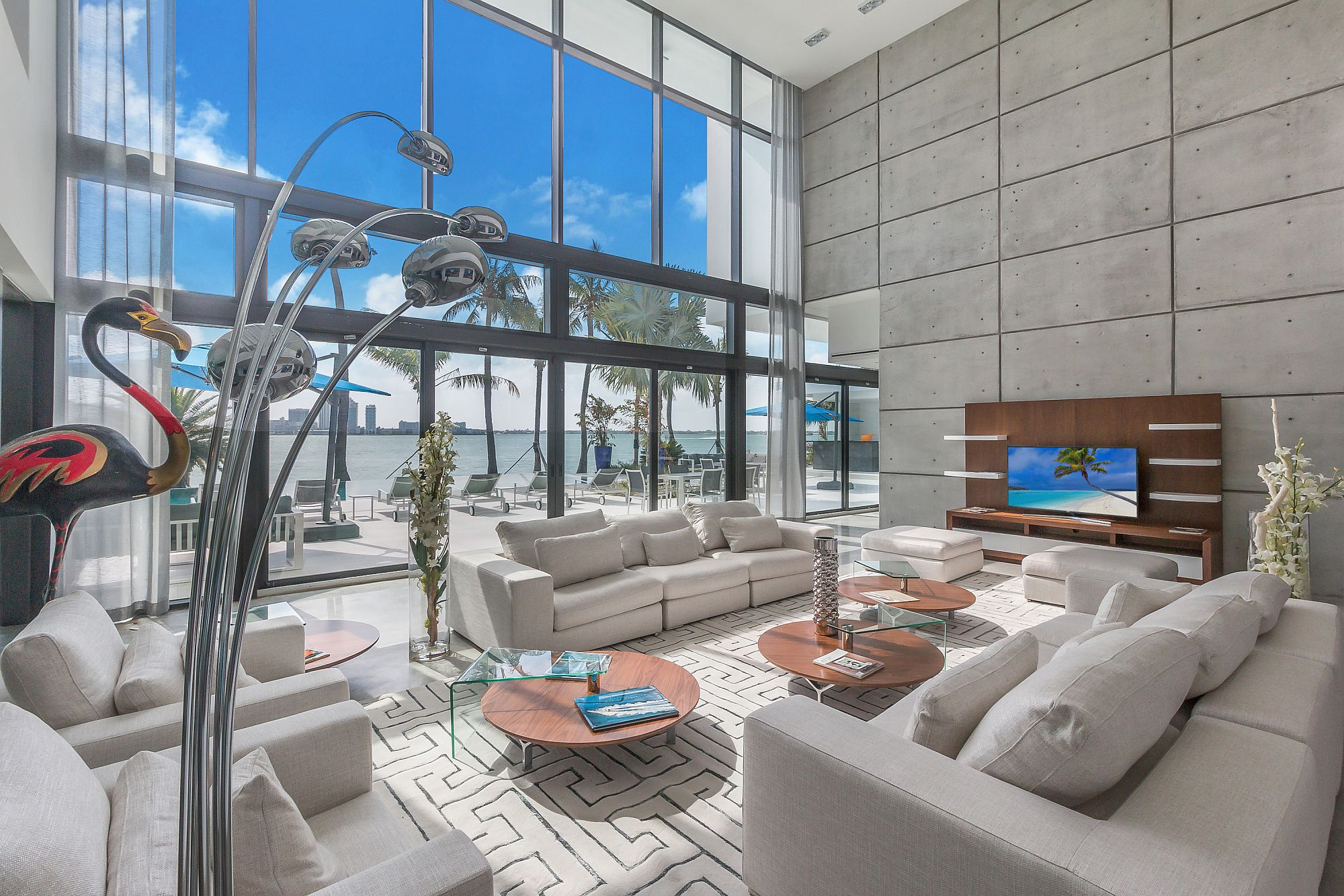 Expansive living room with Bay views