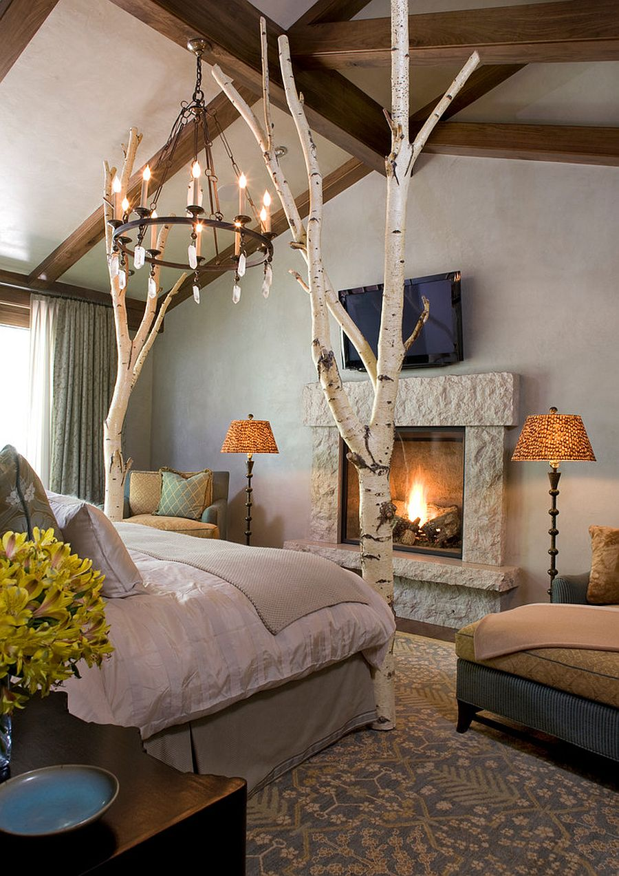 Fireplace brings an air of romantic charm to the bedroom
