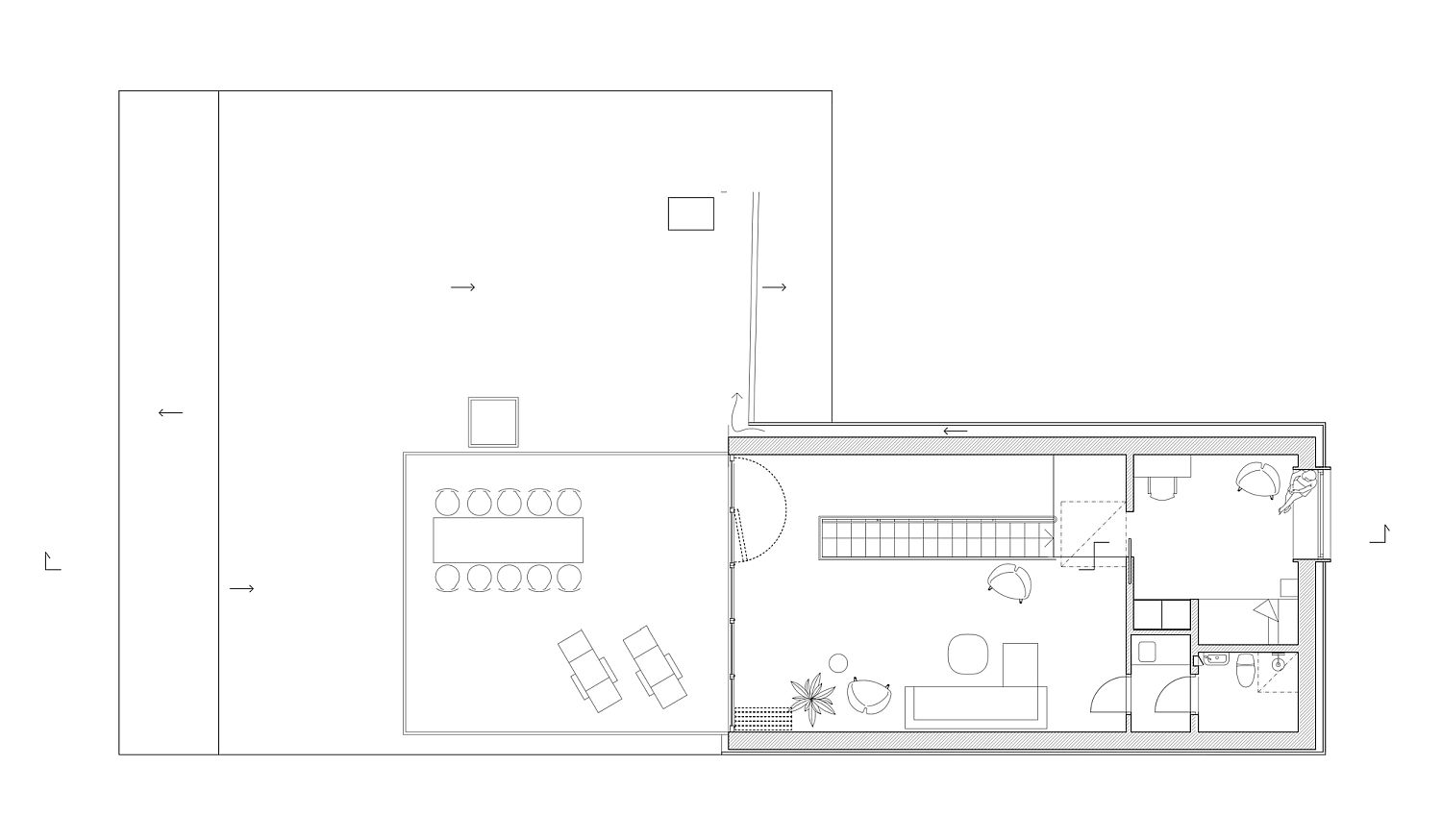 Floor plan of the lower level of modern Stockholm residence