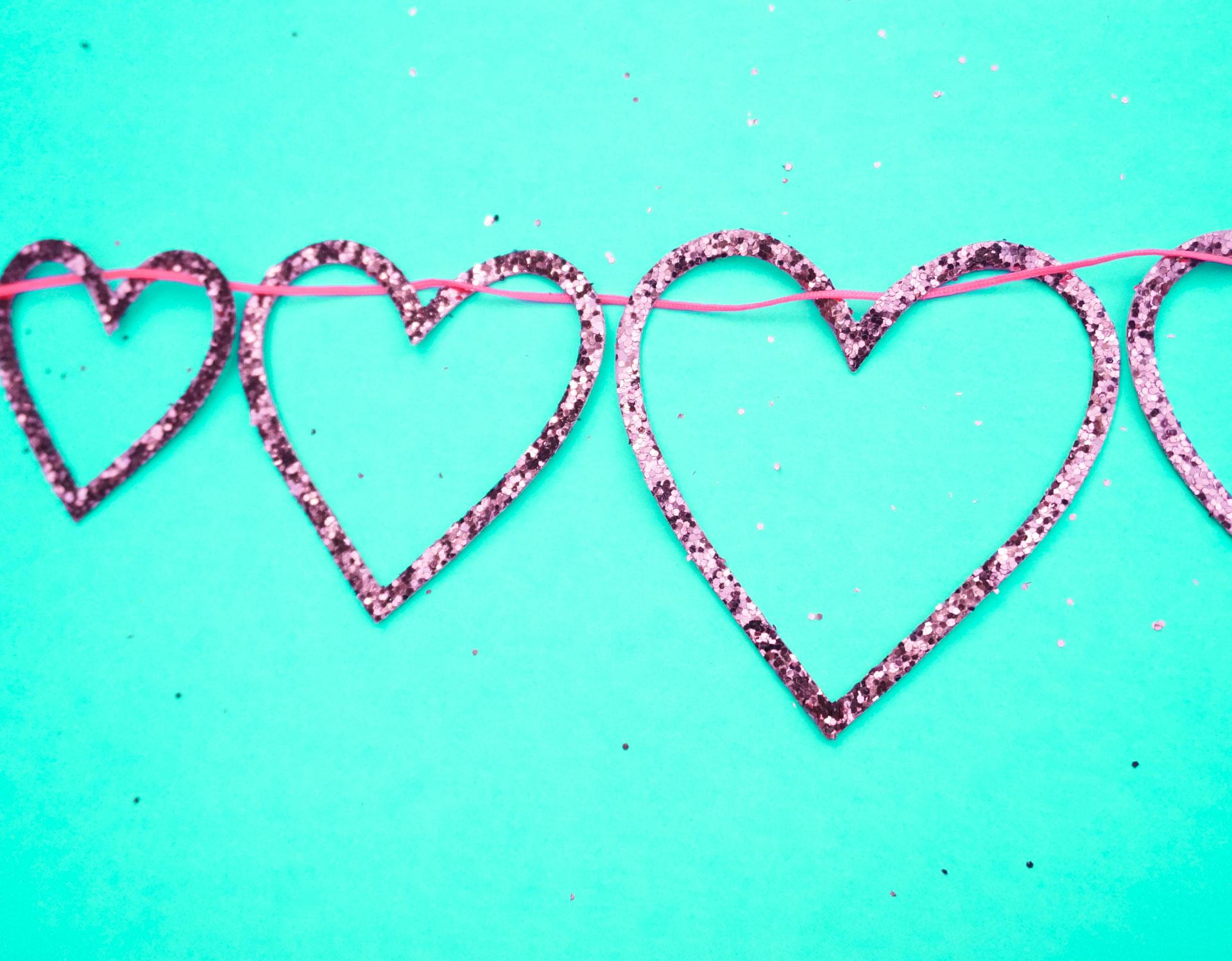 Glittering pink heart garland from Meri Meri