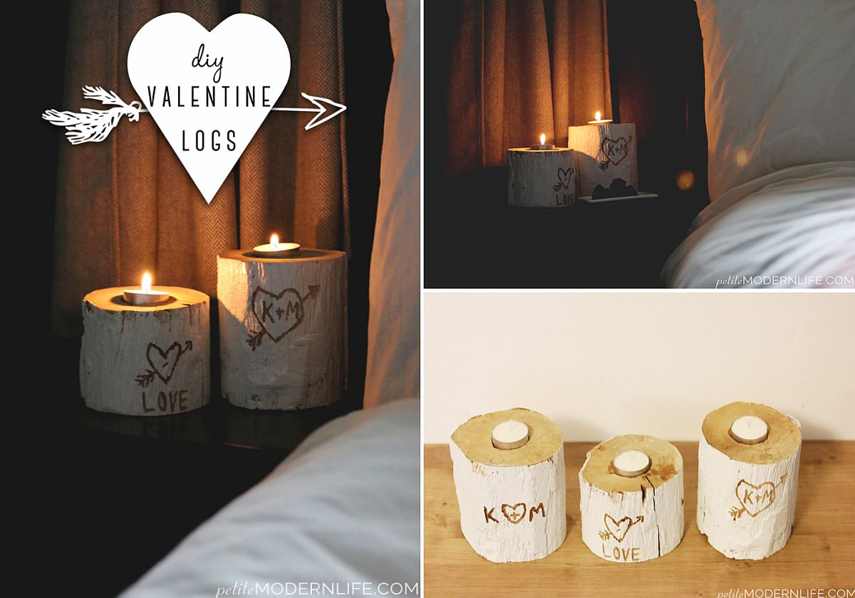 Gorgeous DIY Valentine's Day lighting idea with logs