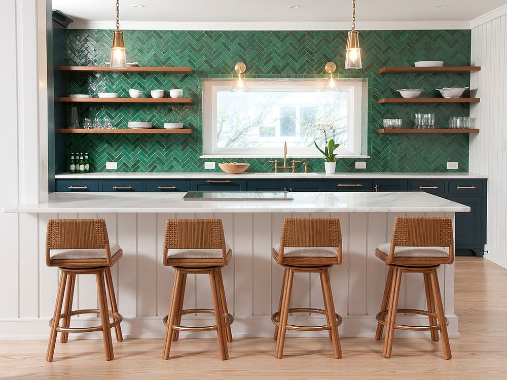 Gorgeous green backsplash with herringbone pattern for the white kitchen