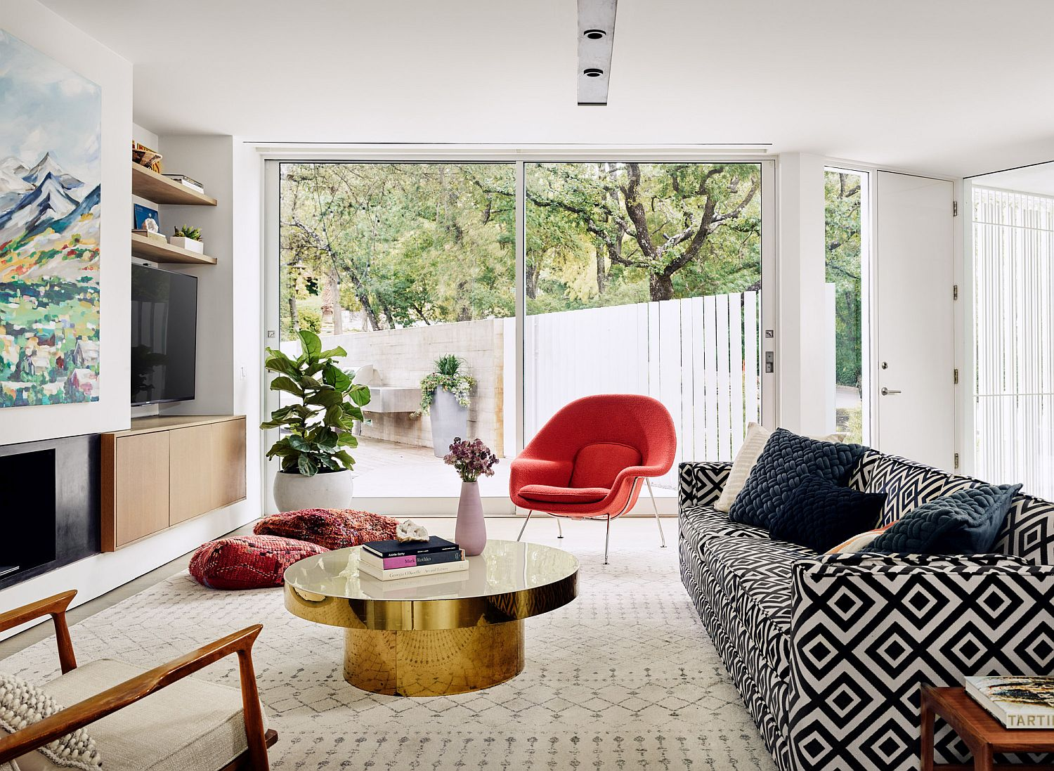 Gorgeous living space with golden coffee table at its heart