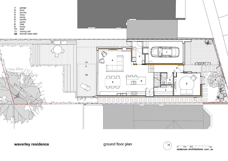 Ground floor design plan of the Waverley House