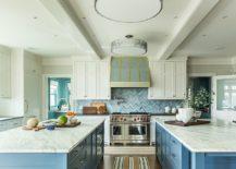 Light-blue-chevron-pattern-backsplash-for-the-beach-style-kitchen-with-twin-islands-217x155
