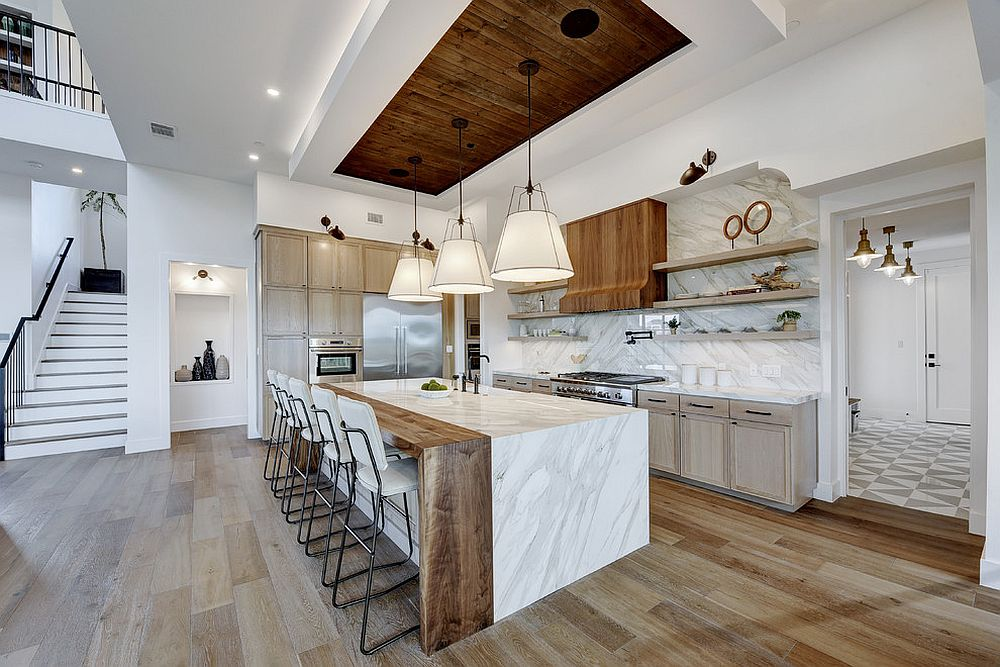 Lovely wood floor can add to the color platte of your kitchen