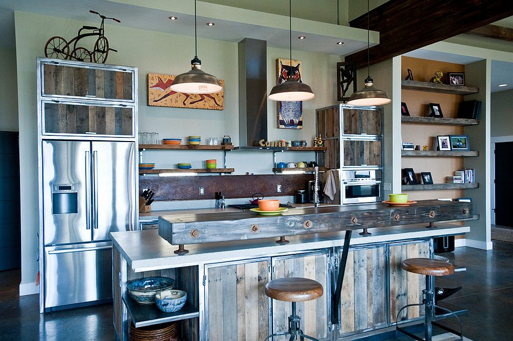 Metal and wood industrial style kitchen