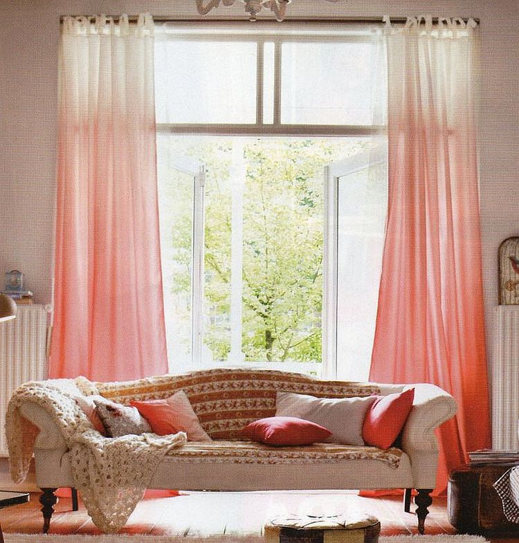 Ombre style coupled with coral beauty in the living room