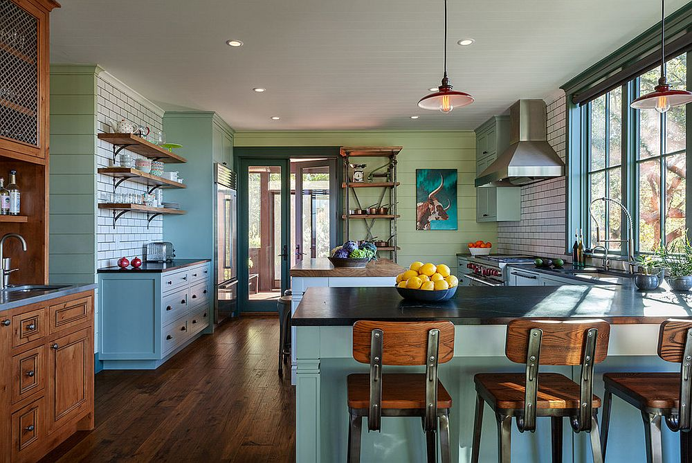 Pastel green and blue for the modern farmhouse kitchen
