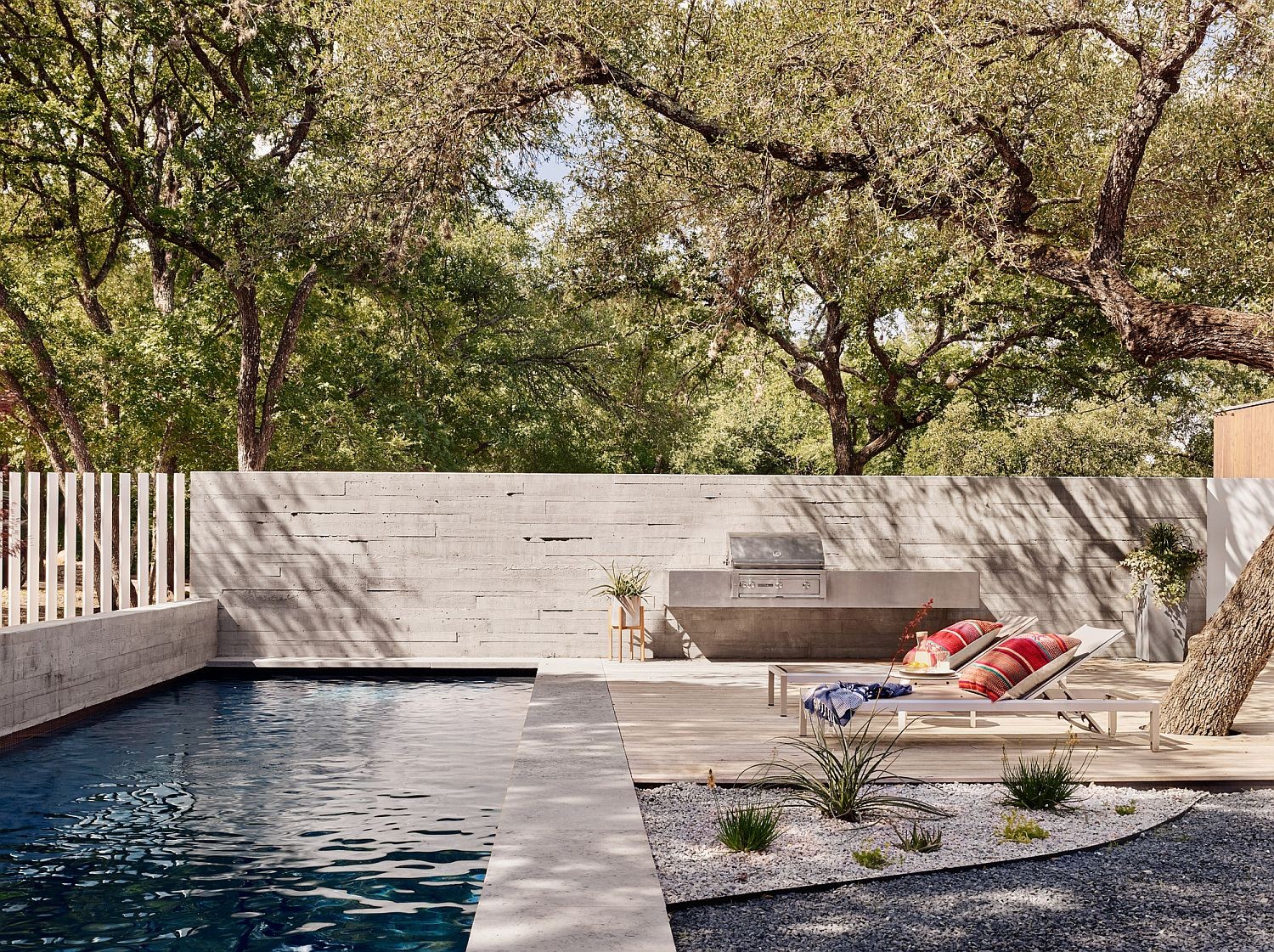 Pool area and outdoor hangout at the Sugar Shack Residence