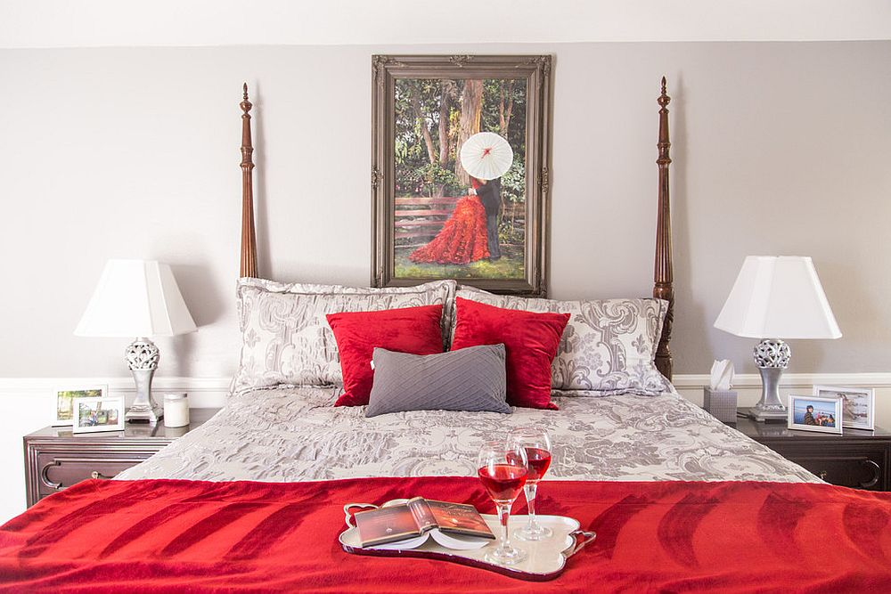 Red and white traditional bedroom is perfect for Valentine's Day