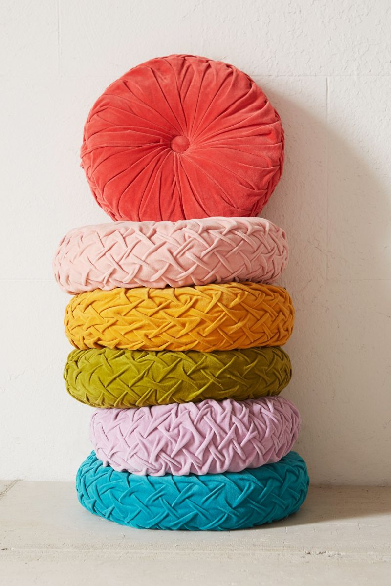 Round velvet pillows from Urban Outfitters