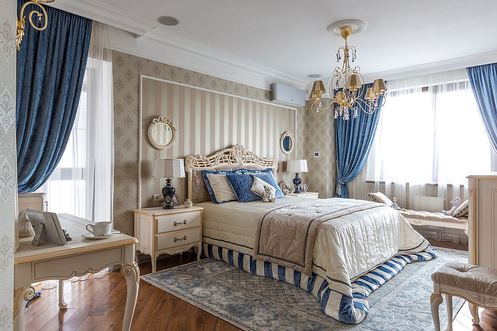 Silken drapes add class and style to the traditional bedroom in neutral hues