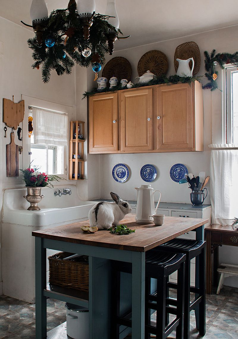 Small farmhouse kitchen in white and wood with a bit of festive cheer