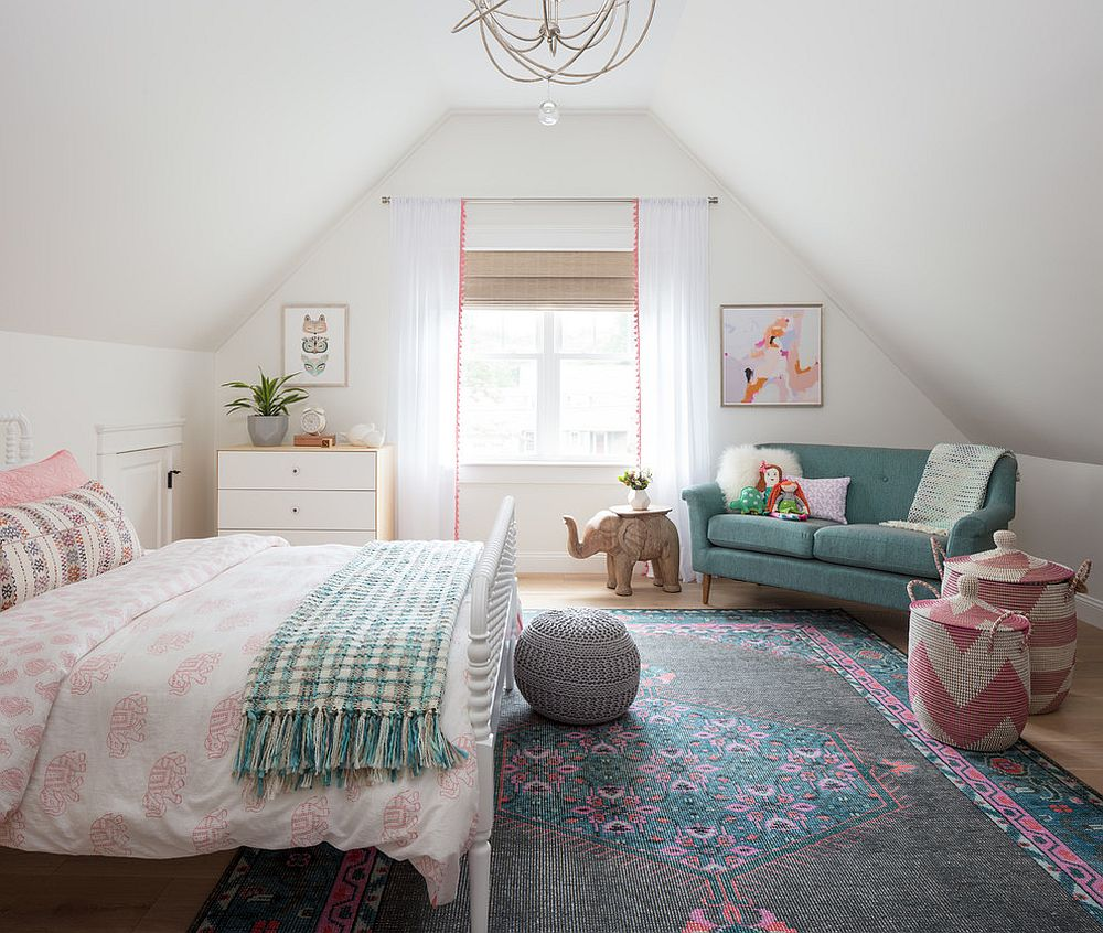 Smart white sheer curtains with a hint of pink for the eclectic kids' room