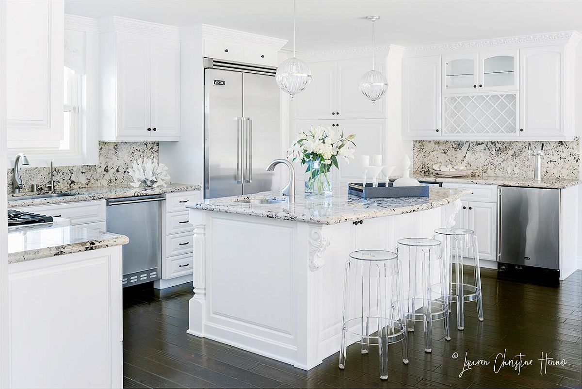 Spacious and functional white kitchen with distinctive countertops