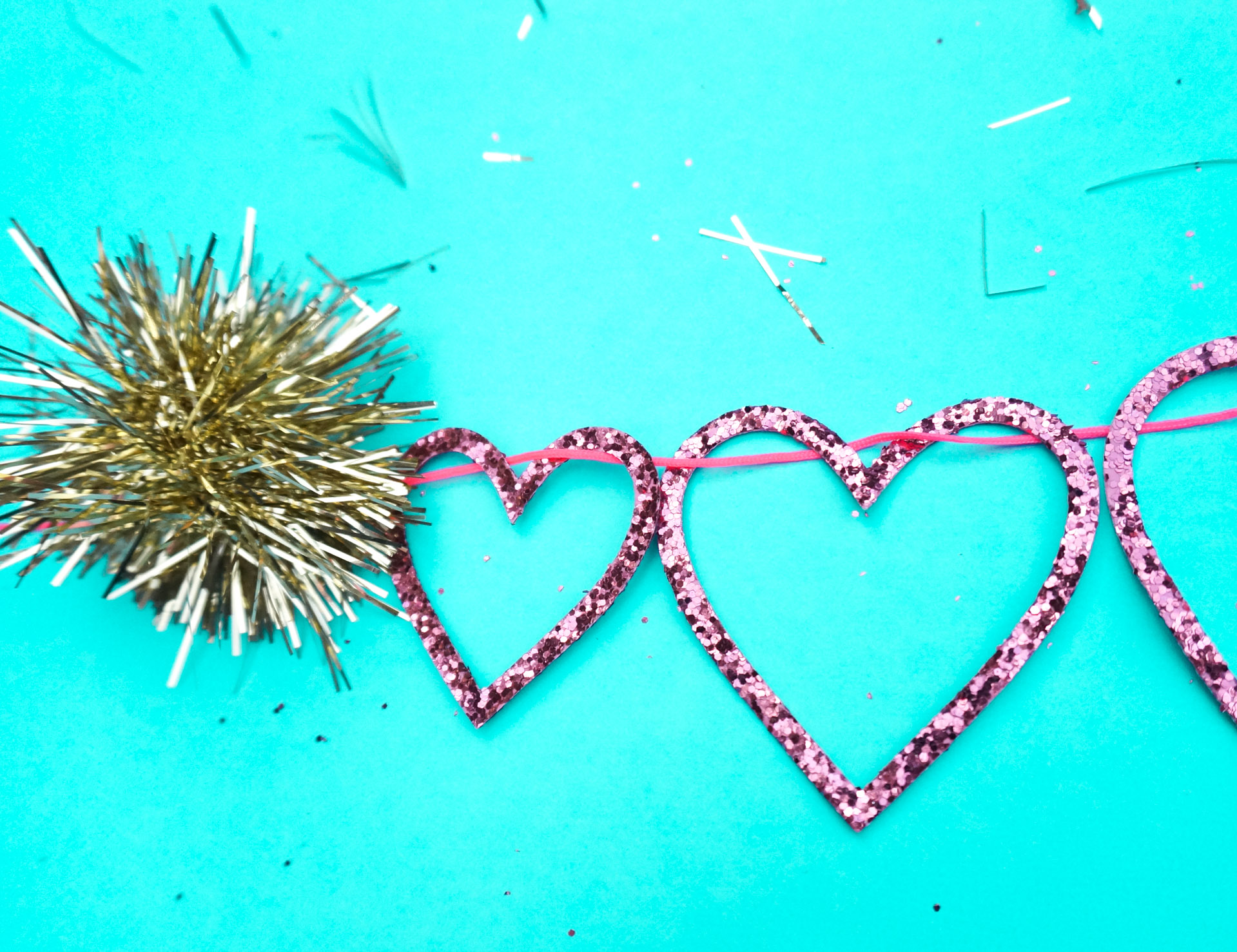 Sparkling heart and tinsel garland