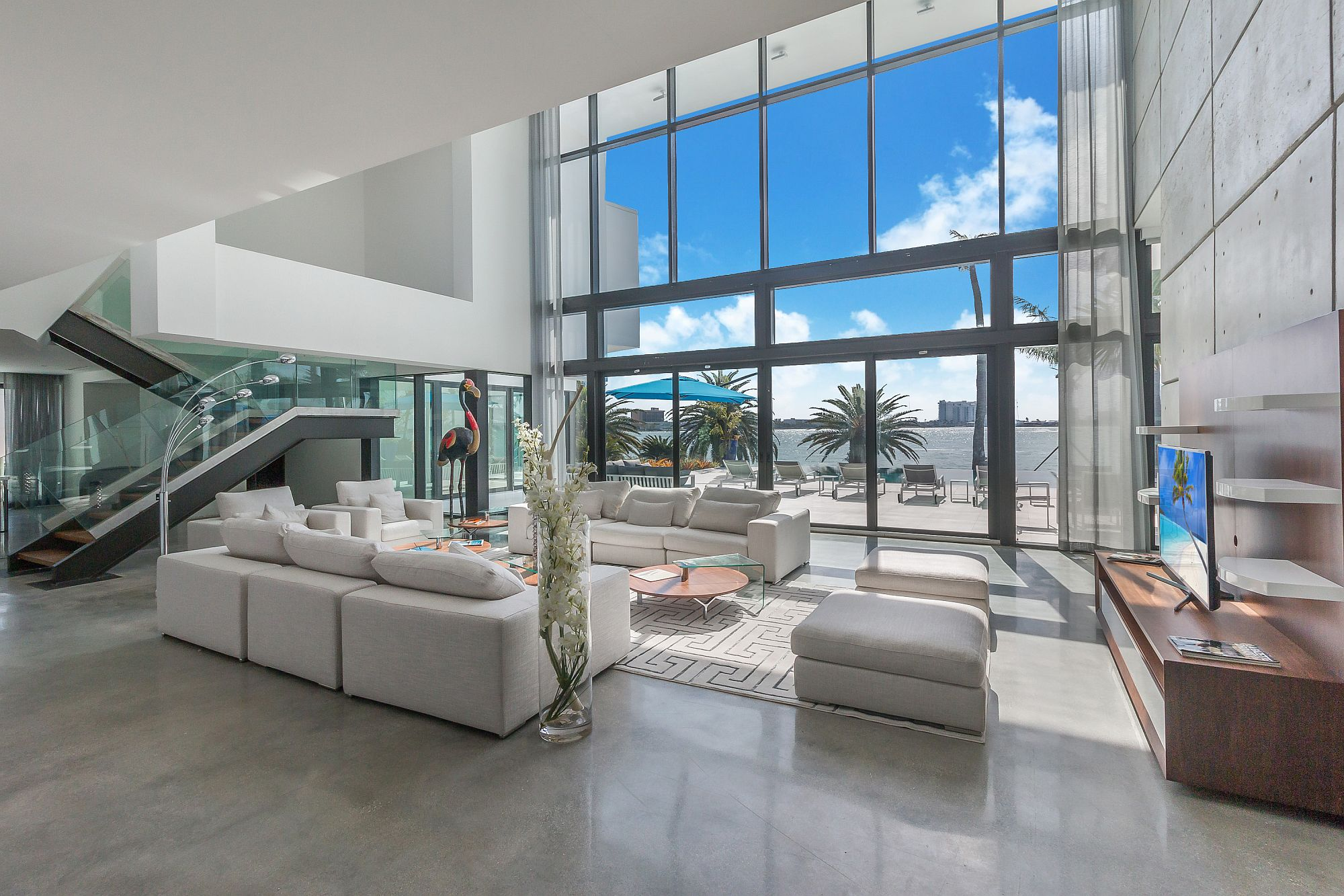 Spectacular interior of the home with white taking over