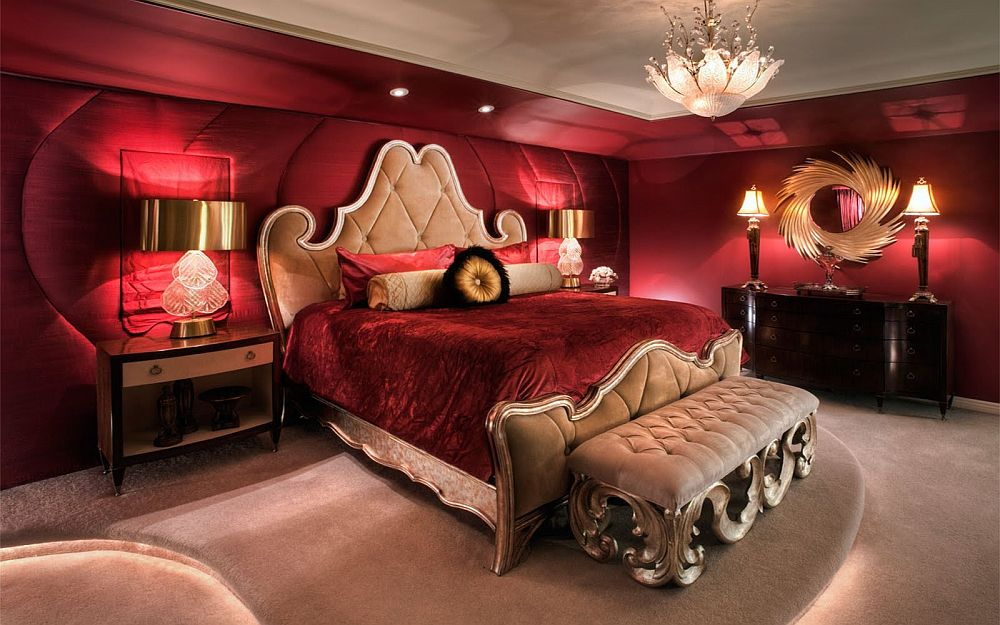 Stunningly regal bedroom in red with a dash of gold