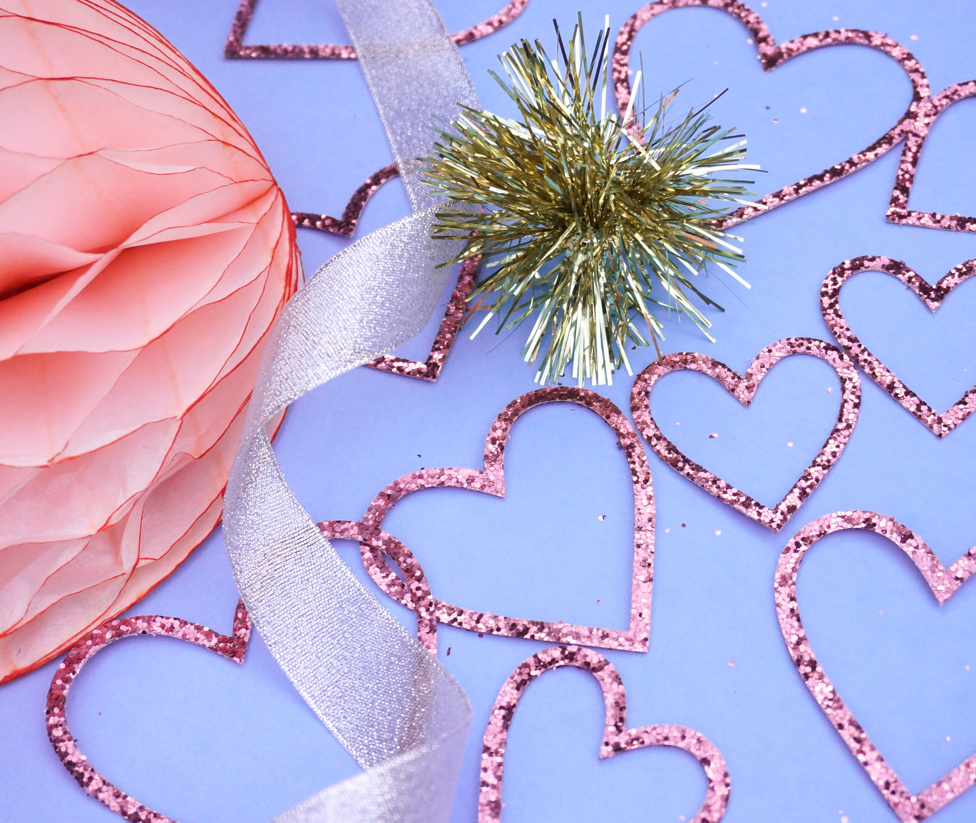 Tinsel adds a sparkling touch to winter and Valentine's Day decor