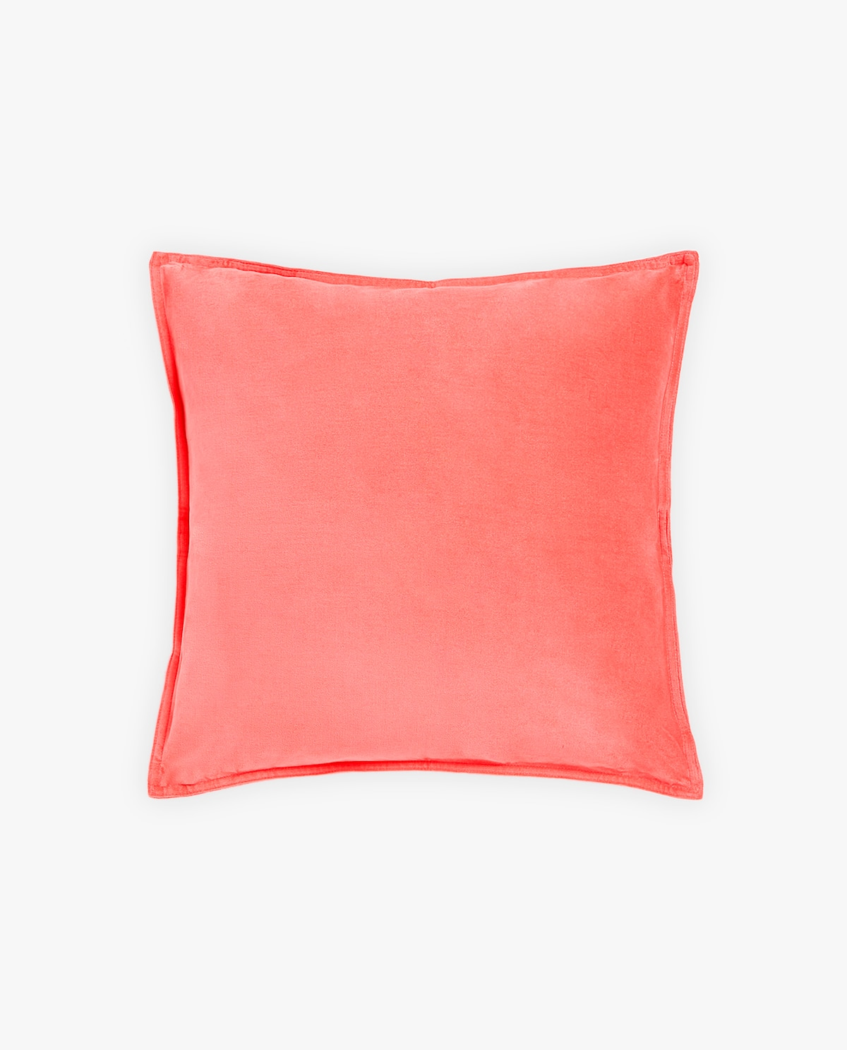 Velvet throw pillow in coral
