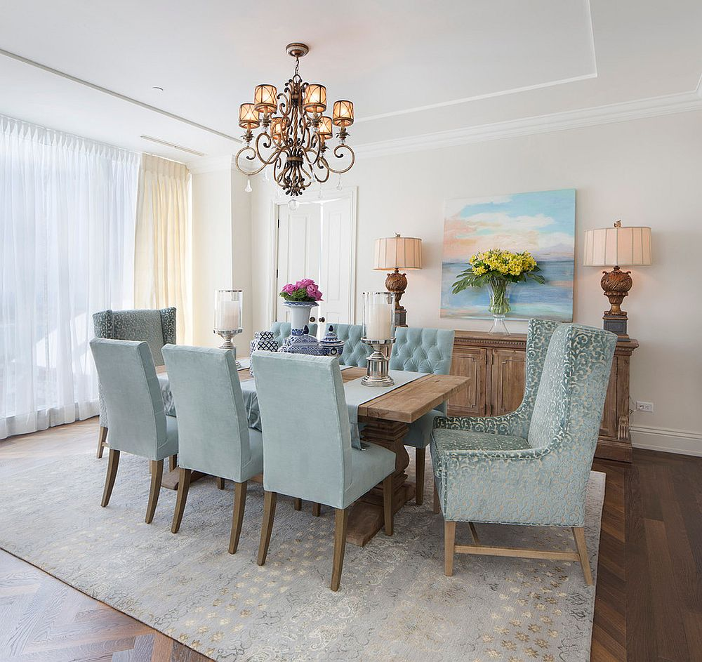 White sheers for the modern dining room