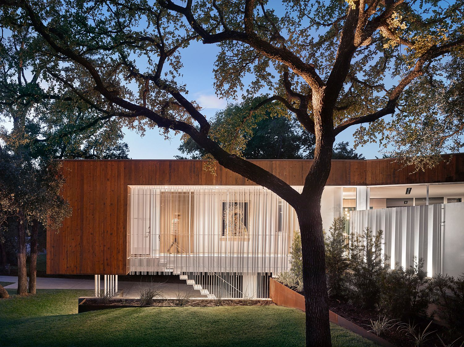 Wood and glass modern home in Austin